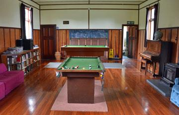 Games room, including pool tables, library and stereo