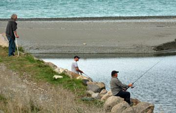 Enthusiastic fishermen - but nothing caught while we were there