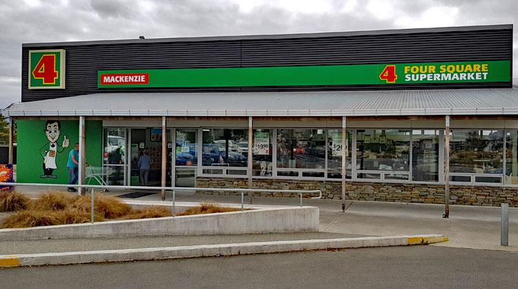 The Mackenzie 4 Square supermarket next to the carpark