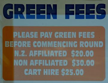 Green fees sign
