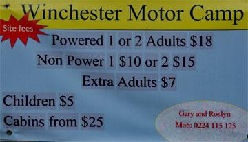 Winchester Motor Camp sign