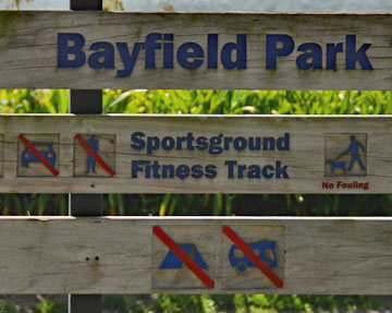 Bayfield Park sign