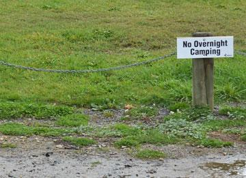 No Overnight Camping sign