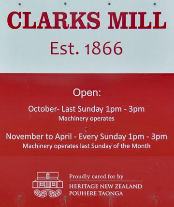 Clarks Mill sign
