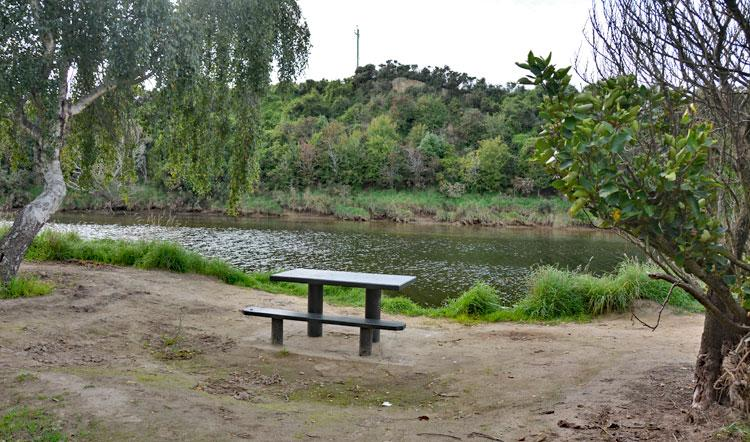 Picnic table by the river