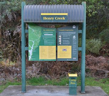 Henry Creek DOC sign