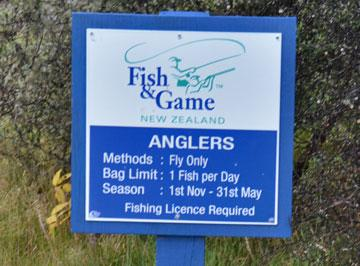 Fish & Game sign for anglers