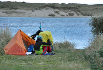 Camping by the harbour edge