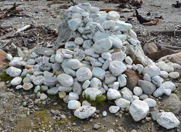 A mound of message stones