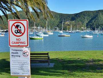 No Camping in Waikawa Bay