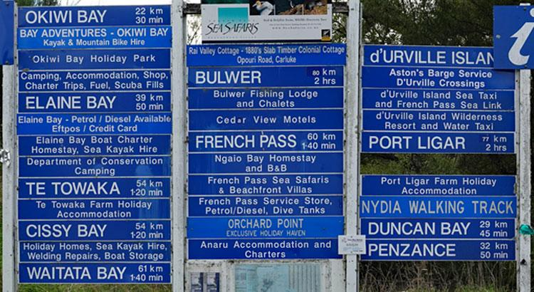 Sign with all the destinations you can access via Opouri Rd