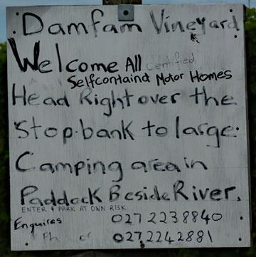 Welcome sign to the Damfam Vineyard