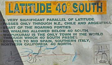 The significance of Latitude 40 degrees south.