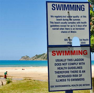Warning about swimming