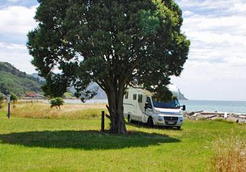 Parking by the beach in Tokomaru Bay