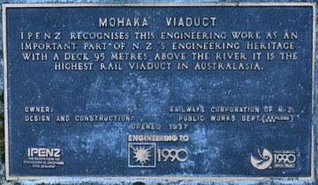Mohaka Viaduct Plaque