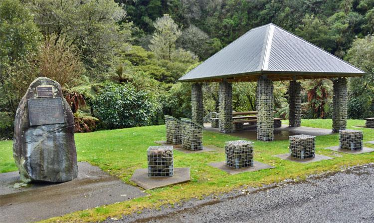 The monument and sheltered picnic area