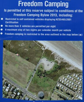 Stella Place Freedom Camping sign