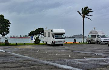 Motorhome parking overlooking the harbour