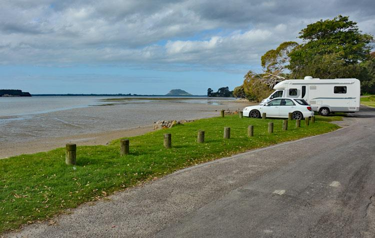 Beachfront parking at Waitui Reserve