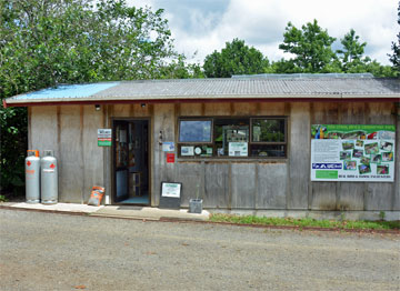 Campsite reception and entrance to the bird park