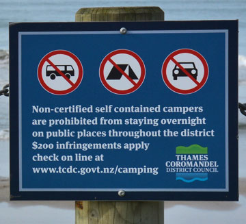 Council Freedom Camping sign