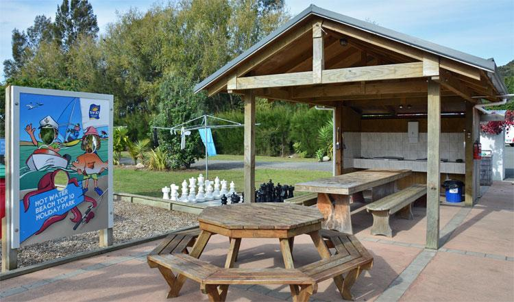 Barbeque area and chess set