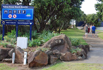 Entrance to the Tairua Ocean Beach Reserve