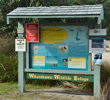 Noticeboard at the entrance to the Wildlife Refuge
