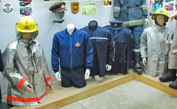Display of fire fighting garments